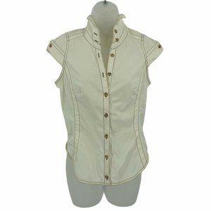 Byron Lars Beautymark 6 Blouse Cap Sleeve Buttons